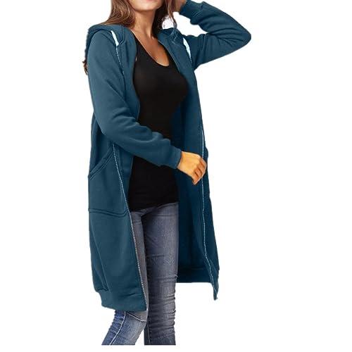 Abrigo de mujer,RETUROM Mujeres invierno caliente más tamaño cremallera sudadera con capucha abierta abrigo largo
