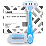 Solimo 5-Blade Razor for Women, Handle & 2 Refills (Refills fit Solimo Razor Handles only)