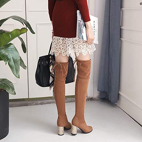 Alto Ufficio Donna Quadrato Stivali Ginocchio Sopra Lungo Il Tacco Stringata Brown Yomo xf6w1R6