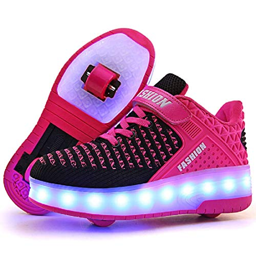 ONEKE Roller Skates Boys Girls Kids Light Up Shoes USB Charge LED Wheeled Skate Sneakers Running Shoes Rollerblades Sports Skating Shoes for Beginners (Pink, 1M Little Kid)