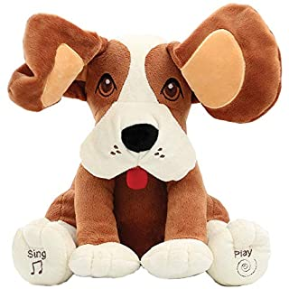 Animal House Plush Peek A Boo Singing Dog with Floppy Ears   Plays Peek-A-Boo & Sings Do Your Ears Hang Low?