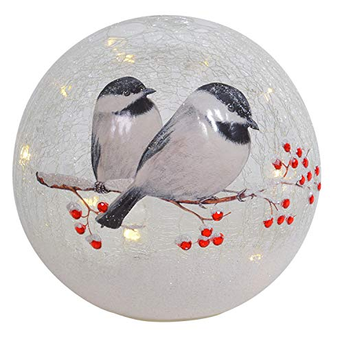 Lighted Crackle Glass Chickadee - 6 Inch Battery ()