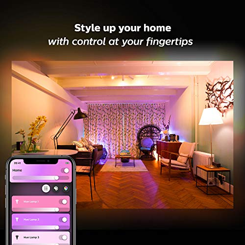 Philips Hue White and Color Ambiance A19 LED Smart Bulb, Bluetooth & Zigbee compatible (Hue Hub Optional), voice activated with Alexa