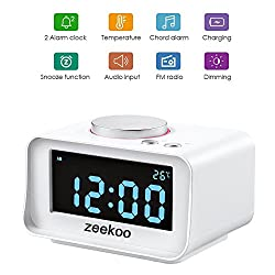 Digital Alarm Clock FM Radio,with Dual Port USB Charger,Indoor Thermometer, Music player,Brightness Dimmer Night light,Dual Alarm, AUX-IN for Kid, Daily Life, Heavy Sleepers By Zeekoo (White)