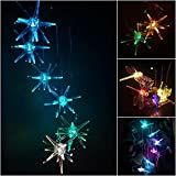 Solar Powered Wind Chimes Changing Color Starfish LED Hanging Lamp Automatic Sensor Garden Spinner Outdoor Decorative Windbell Light for Home, Garden, Patio, Deck, Yard, Pool
