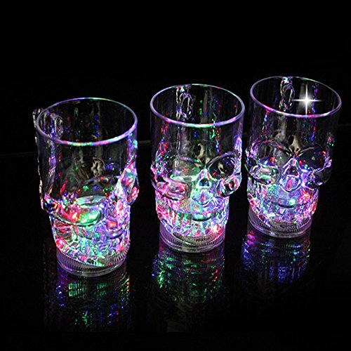 Spritech(TM) Amazing Colorful Creative Novel LED Flashing Skull Head Beer Mug Cup