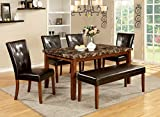 Furniture of America Smithson 6-Piece Transitional Faux Marble Dining Set For Sale