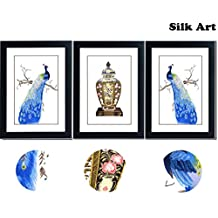 SmartWallArt - 3 Panels Peacocks Large Size Needlepoint Embroidery Paintings Collection Framed with Mat, Suzhou Silk Embroidery Artwork for Home Decor or as Perfect Wedding Gift (06:Collection)