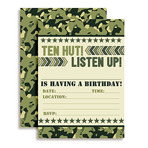 Ten Hut! Army Camouflage Birthday Party Invitations, 20 5