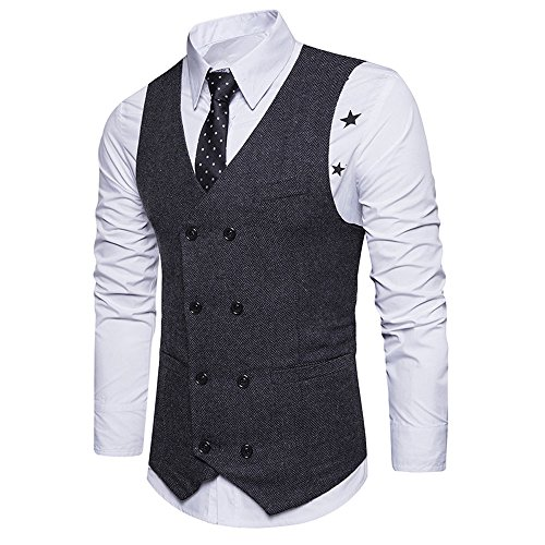 Toimothcn Men Double Breasted Business Vest Formal Waistcoat Retro Slim Fit Vest Suit ()