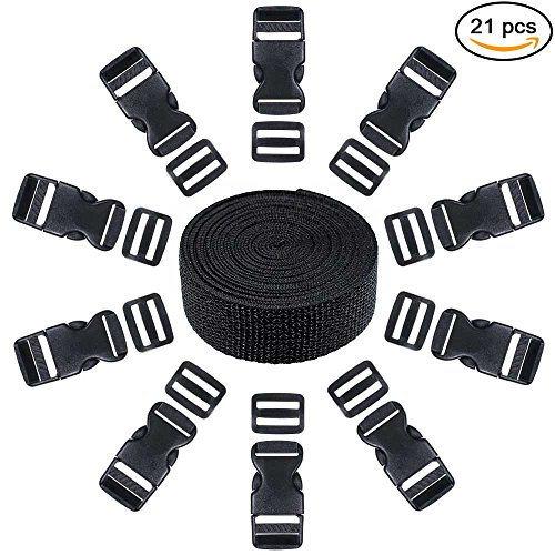 21 Piece Set of 10 Black Plastic 1 Inch Flat Side Release Buckles, 10 Tri-glide Adjustment Clips, & 1 Compatible 10 Yard Roll of 1 Inch Wide Black Nylon Web Strapping (Buckles Web Strap)
