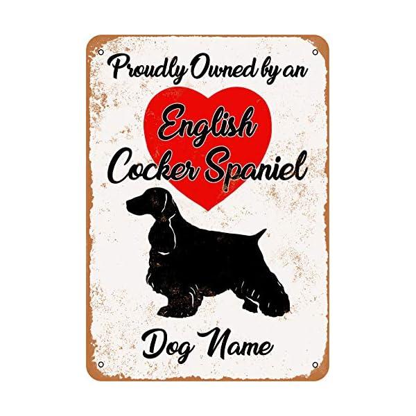 Wall-Color 10 x 14 Metal Sign - Custom Dog Name - English Cocker Spaniel - Vintage Look 1
