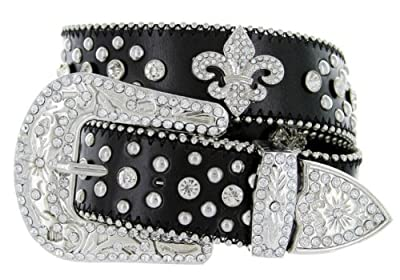 Western Cowgirl Fleur De Lis Bling Belt with Rhinestone Studded Buckle and Strap