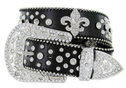 Western Cowgirl Fleur De Lis Bling Belt with Rhinestone Studded Buckle and Strap (32, Black)