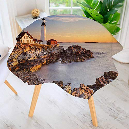 UHOO2018 Polyester Dust-Prooftablecloth-Cape Elizabeth Maine River Portland Lighthouse Sunrise USA Coast Scenery Light Blue Tan for Kitchen Dinning 40