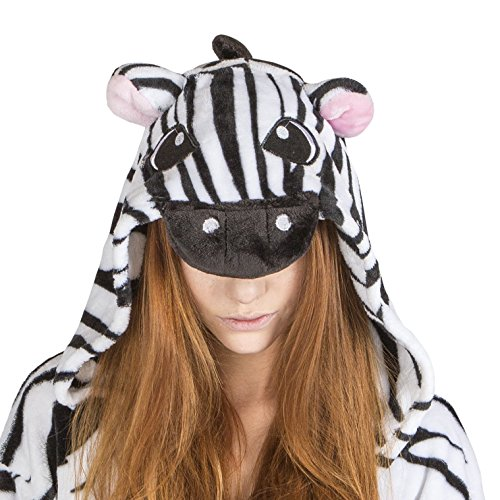 Juxy Couture  Unisex Onesie Zebra Costume for Adults, X-Large (Zebra Costumes For Adults)