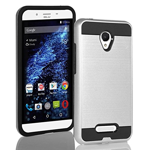 BLU Studio X8 HD Case, Tough Hybrid + Dual Layer Shockproof Drop Protection Metallic Brushed Case Cover + Screen Protector for Studio X8 HD (S530) (VGC Silver + SP)