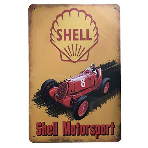 Shell Gas Oil - PEI's Shell Motor Sport Retro Vintage Tin Metal Sign Wall Decor for Home Garage Bar Man Cave, 8x12 inch/20x30cm