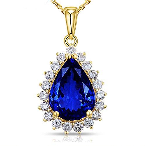 Lanmi Top 14K White Yellow Gold Genuine AAAA Tanzanite Diamond Pendant Necklaces Engagement Wedding for Women Ladies (Gold Genuine Tanzanite Pendant)