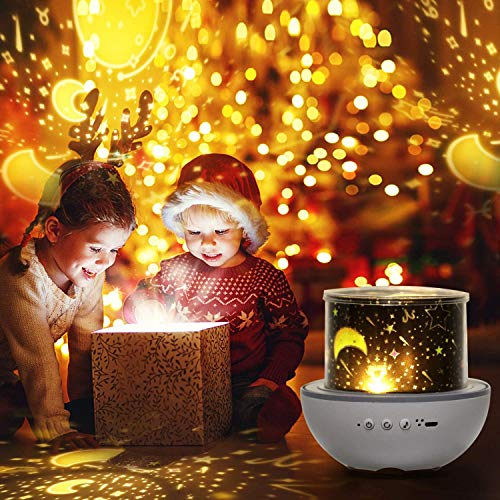 erwubala Multifunctioal Night Light for Kids Star Projector,360°Rotating Music Box,Best Gift for Boys and Girls