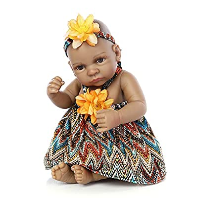 """Pinky 10"""" Pinky 26cm Full Body Silicone Soft Vinyl Real Looking Reborn Baby Dolls Lifelike Native American Indian Style Black Skin Girl Newborn Doll Gift"""