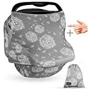 Premium 4-in-1 Multi-Use Cover Grey for Nursing, Carseat Canopy, Baby Car Seat, Breastfeeding Scarf, Grocery Cart, for Boys and Girls - Best Gift Set |BONUS Baby Silicone Finger Toothbrush and Bag