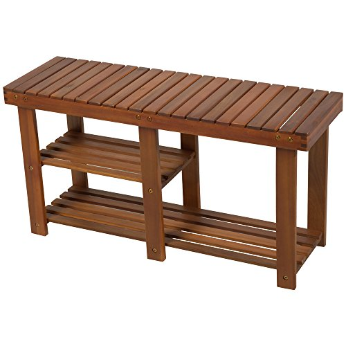 - HOMCOM 3-Tier Acacia Wood Rustic Country Entryway Bench with Shoe Storage - Teak
