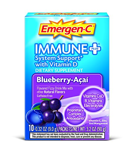 Emergen-C Immune+ (10 Count, Blueberry-Acai Flavor) System Support Dietary Supplement Fizzy Drink Mix With Vitamin D, 1000mg Vitamin C plus Antioxidants & Electrolytes, 0.32 Ounce Packets