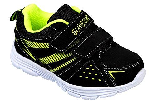gibra - Zapatillas de Material Sintético para niño 36 Negro - Schwarz/Neongrün