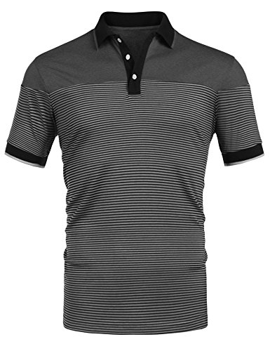 COOFANDY Mens Short Sleeve Polo Shirt Striped Slim Fit Casual Cotton T Shirt