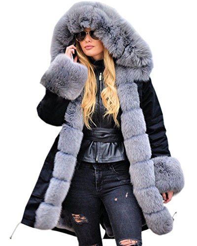 Roiii Women Casual Vintage Faux Fur Hooded Grey Warm Thick Ladies Jacket Coat Size S-3XL (Large, Black) ()
