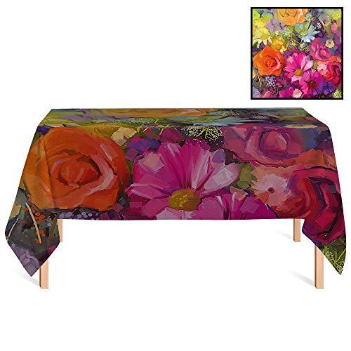 SATVSHOP Outdoor Tablecloth /55x86 Rectangular,Floral Vibrant Flower Bouquet with Daisy Peony Gerbera Petals Romantic Arrangement for Wedding/Banquet/Restaurant.