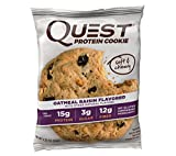 Quest Nutrition Protein Cookie, Oatmeal Raisin, 15g Protein, 9g Net Carbs, 250 Cals, 2.08oz Cookie, 12 Count, High Protein, Low Carb, Gluten Free, Soy Free