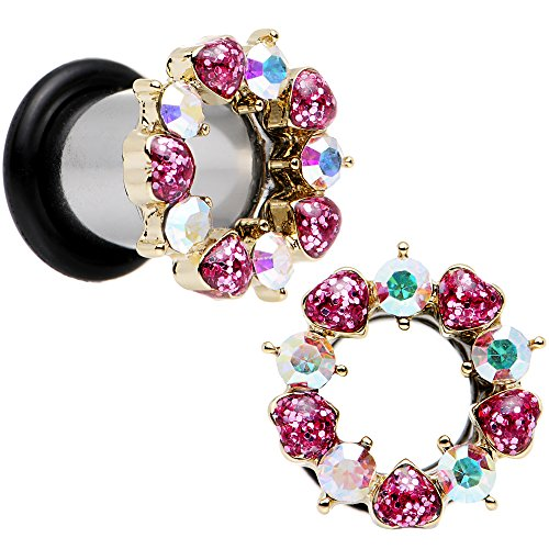 Body Candy Stainless Steel Aurora and Pink Accent Heart Wreath Single Flare Tunnel Plug Set 0 (Candy Hearts Wreath)