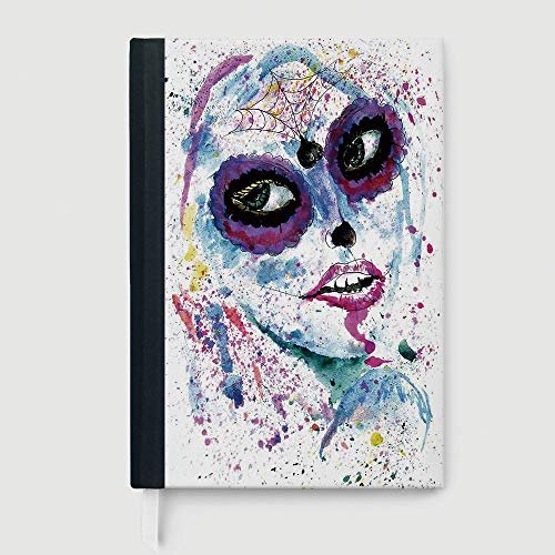 Girls,Case Bound Notebook,Grunge Halloween Lady with Sugar Skull Make Up Creepy Dead Face Gothic Woman Artsy,96 sheets/192 pages,A5/8.24x5.73 in -