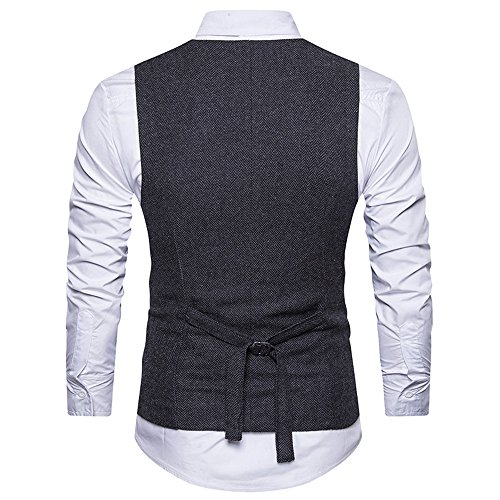 Clothes For Men Charberry Suit Vest Striped Double Breasted Formal Tweed Check Waistcoat Retro Slim Fit Suit Jacket by Charberry (Image #3)