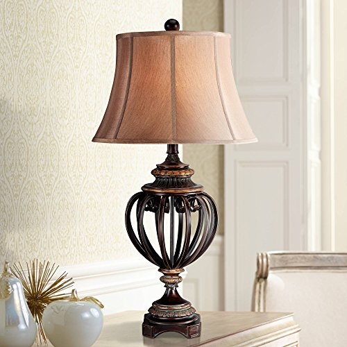 Traditional Table Lamp Iron and Bronze Open Urn Tan Cut Corner Square Shade for Living Room Family Bedroom Bedside - Barnes and Ivy