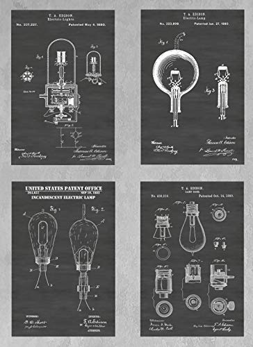 (Thomas Edison Light Bulb Inventions Wall Decor Collection: Set of Four Patent Print Art Posters: Choose From Multiple Size and Background Color Options)