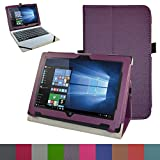 "Acer One 10 S1002 Case,Mama Mouth PU Leather Folio Stand Cover for 10.1"" Acer One 10 S1002 Detachable 2-in-1 Laptop/Tablet,Purple"