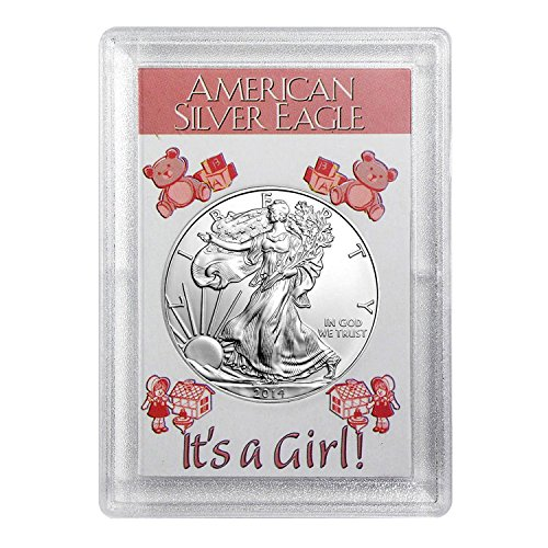 """2014 Silver Eagle With""""It's A Girl"""" Coin Holder $1 Brilliant Uncirculated by United States Mint"""