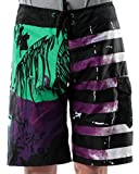 Vska Men's Hip hop Hybrid Striped Boardshort Swim Trunk Purple L