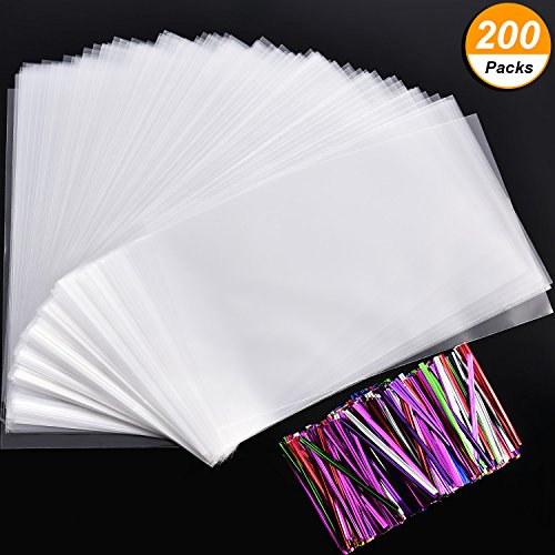 Flat Dessert (Hotop 200 Pieces 10 by 6 Inches Clear Cellophane Treat Bags Flat Candy Bags with 210 Pieces 7 Colors Twist Ties for Bakery, Cookie Candy and Dessert)
