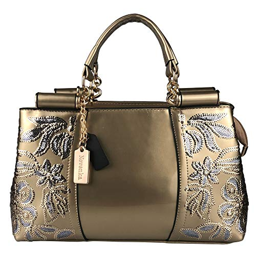 Nevenka Women Patent Leather Fashion Handbags (Gold)