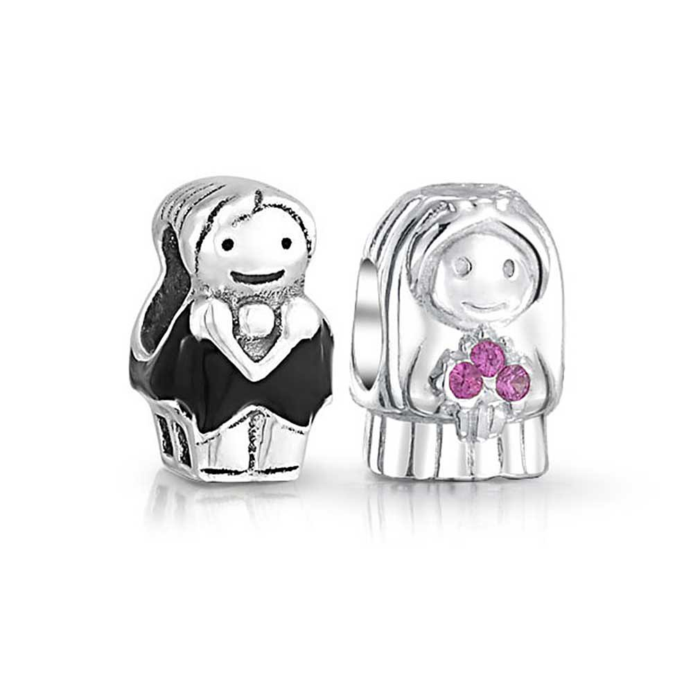 925 Silver Wedding Pink CZ Bride and Groom Bead Charm Set