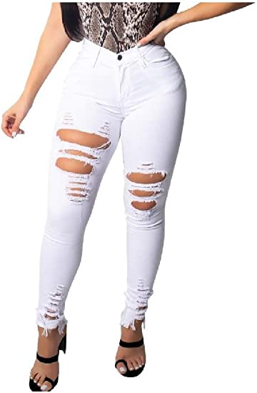 YAXINHE Women's Trendly Hipster Ripped-Holes Sexy Pure Color Skinny Jeans