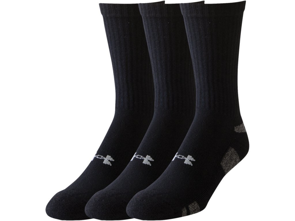 Under Armour Men's HeatGear 3-Pack Crew, Black, Large by Under Armour