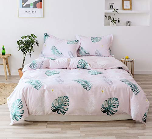 Duvet Cover Sets, 100%Cotton 3Pieces Bedding, Green Leaves Printed Soft and Comfortable 1 Duvet Cover and 2 Pillow Shams, with Hidden Zipper (Green leaf, King Size(duvet cover 90
