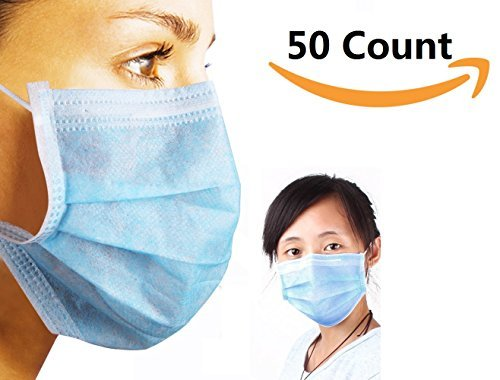 3-Ply Blue Commercial Dental Surgical Medical Disposable Earloop Face Masks . MADE IN USA ! 50/Box ( 50 Count (Hold Down Strips)
