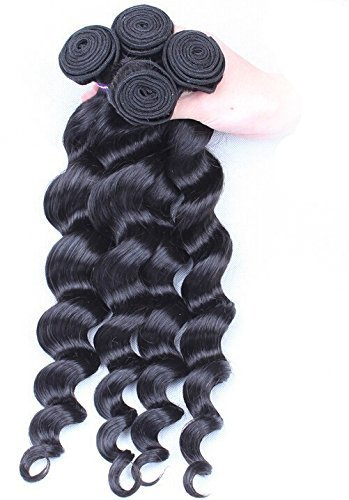 Goood Hair Peruvian Virgin Hair Bundles 4pcs 6a Unprocessed Human Hair Weaves Peruvian Loose Wave Natural Black Rosa Hair Products 50g/ps 4pcs/ Lot -Total 200g (20 20 20 20 Inch)