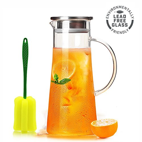 Glass Water Pitcher with Stainless Steel Infuser Lid and Spout - Heat Resistant Pitcher for Hot/Cold Water 50 oz (Glass, 1500ml) (Lid Stainless Steel Infuser With)